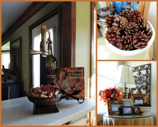 Alycia Nichols, Tablescapes at Table Twenty-One, www.tabletwentyone.wordpress.com, Pheasants & Pumpkins: Fall decor on breakfast bar, in master bedroom collage