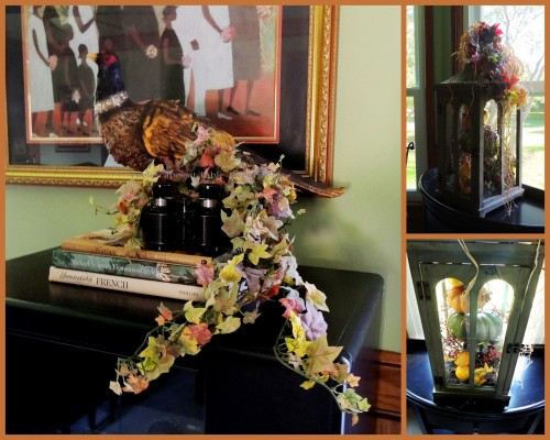 Alycia Nichols, Tablescapes at Table Twenty-One, www.tabletwentyone.wordpress.com, Pheasants & Pumpkins: Fall lantern, pheasant with binoculars collage