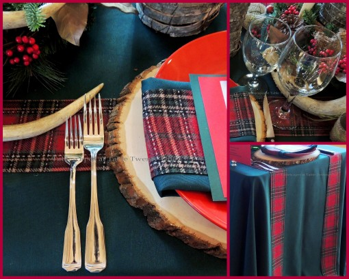 "Alycia Nichols, Tablescapes at Table Twenty-One, www.tabletwentyone.wordpress.com, ""Christmas in the Woods"": Flatware, wood slice charger, tartan ribbon runner, stemware collage"