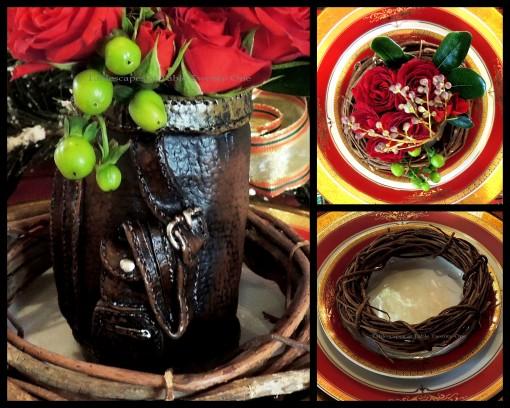 Alycia Nichols, Tablescapes at Table Twenty-One, www.tabletwentyone.wordpress.com, Tartan On the Tee – A Creekmoor Christmas: Golf bag floral collage