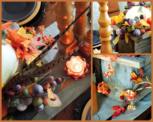 Alycia Nichols, Tablescapes at Table Twenty-One, www.tabletwentyone.wordpress.com, Pheasants & Pumpkins: Pheasant feathers, berries, bittersweet in wooden centerpiece box collage