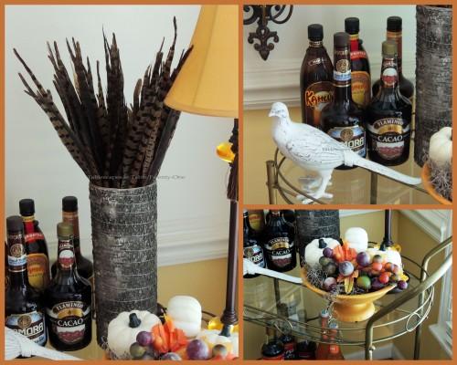 Alycia Nichols, Tablescapes at Table Twenty-One, www.tabletwentyone.wordpress.com, Pheasants & Pumpkins: Pheasant feathers, berries, white pheasant on bar cart collage