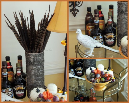 Alycia Nichols, Tablescapes at Table Twenty-One, www.tabletwentyone.wordpress.com, Pheasants & Pumpkins: Pheasant feathers, berries, white pheasant on bar cart collage