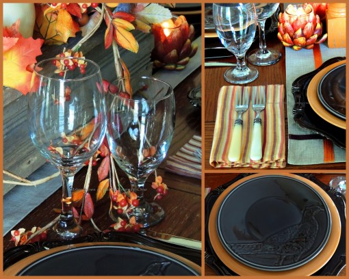 Alycia Nichols, Tablescapes at Table Twenty-One, www.tabletwentyone.wordpress.com, Pheasants & Pumpkins: Stemware, flatware, napkin, pheasant salad plate collage