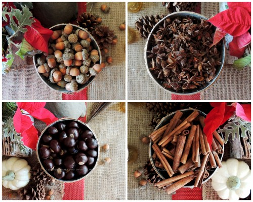 """Alycia Nichols, Tablescapes at Table Twenty-One, www.tabletwentyone.wordpress.com, """"Over the River & Through the Woods – Transitional Tablescape: Acorns, star anise, buckeyes and cinnamon sticks in bark-wrapped cylinders collage"""