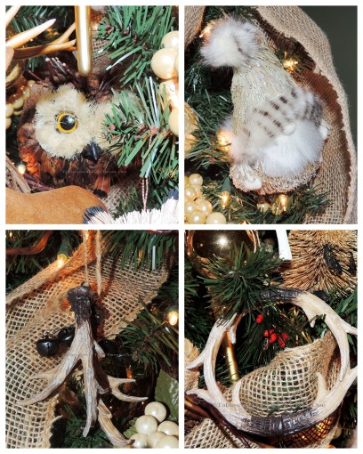 "Alycia Nichols, Tablescapes at Table Twenty-One, www.tabletwentyone.wordpress.com, ""Timberland Christmas – 2014 Christmas Décor: Antler ornaments, owl ornament, woodland Santa ornament collage"