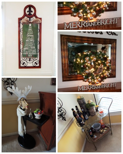 "Alycia Nichols, Tablescapes at Table Twenty-One, www.tabletwentyone.wordpress.com, ""Timberland Christmas – 2014 Christmas Décor: Bar cart, Geoffrey the Butler, wall sign, buffet wreath with owl collage"