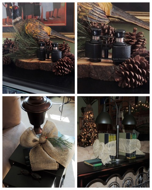 "Alycia Nichols, Tablescapes at Table Twenty-One, www.tabletwentyone.wordpress.com, ""Timberland Christmas – 2014 Christmas Décor: Burlap-tied books, pheasant on wood slice with greenery & binoculars collage"