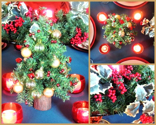 "Alycia Nichols, Tablescapes at Table Twenty-One, www.tabletwentyone.wordpress.com, ""Old-Fashioned Red & Green Christmas"":  Centerpiece collage"