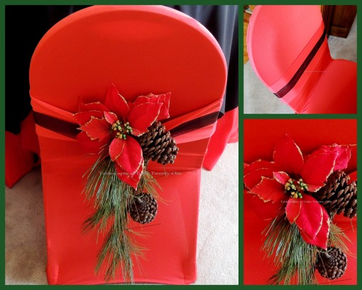 """Alycia Nichols, Tablescapes at Table Twenty-One, www.tabletwentyone.wordpress.com, Cardinal Christmas: Chair collage - banquet chair with red stretch cover, """"cardinal"""", poinsettia and pine cone sash"""