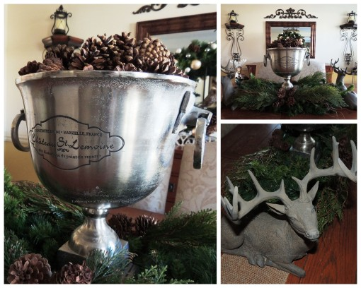 "Alycia Nichols, Tablescapes at Table Twenty-One, www.tabletwentyone.wordpress.com, ""Timberland Christmas – 2014 Christmas Décor: Dining room centerpiece collage with pine cones and reindeer"