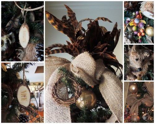 "Alycia Nichols, Tablescapes at Table Twenty-One, www.tabletwentyone.wordpress.com, ""Timberland Christmas – 2014 Christmas Décor: Dining room tree ornament and pheasant feather topper collage"