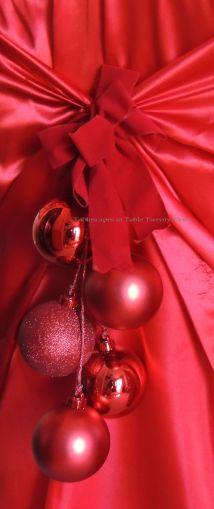 "Alycia Nichols, Tablescapes at Table Twenty-One, www.tabletwentyone.wordpress.com, ""Old-Fashioned Red & Green Christmas"":  Chair cover sash embellishment"