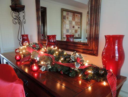 "Alycia Nichols, Tablescapes at Table Twenty-One, www.tabletwentyone.wordpress.com, ""Old-Fashioned Red & Green Christmas"":  Buffet decor"
