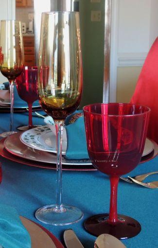 "Alycia Nichols, Tablescapes at Table Twenty-One, www.tabletwentyone.wordpress.com, ""Old-Fashioned Red & Green Christmas"":  Stemware"