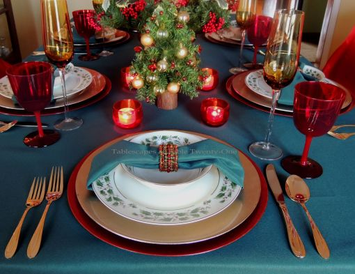 "Alycia Nichols, Tablescapes at Table Twenty-One, www.tabletwentyone.wordpress.com, ""Old-Fashioned Red & Green Christmas"":  Traditional place setting in red & green"