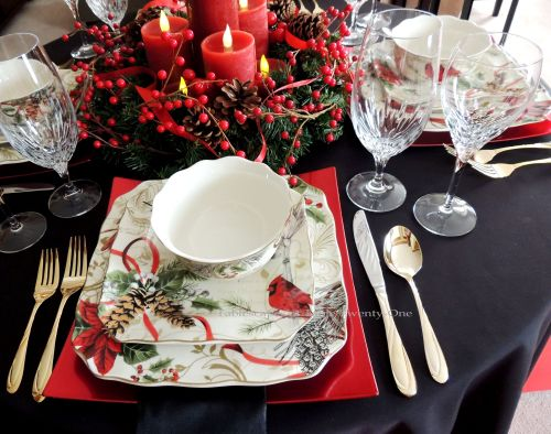 """Alycia Nichols, Tablescapes at Table Twenty-One, www.tabletwentyone.wordpress.com, Cardinal Christmas: Place setting using 222 Fifth """"Holiday Wishes"""" cardinal & pine cone dishes"""