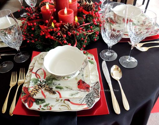 "Alycia Nichols, Tablescapes at Table Twenty-One, www.tabletwentyone.wordpress.com, Cardinal Christmas: Place setting using 222 Fifth ""Holiday Wishes"" cardinal & pine cone dishes"