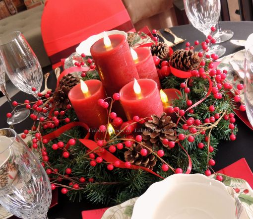 Alycia Nichols, Tablescapes at Table Twenty-One, www.tabletwentyone.wordpress.com, Cardinal Christmas: Berry & ribbon wreath with LED candles