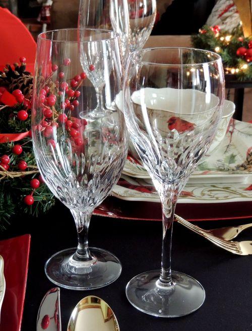"Alycia Nichols, Tablescapes at Table Twenty-One, www.tabletwentyone.wordpress.com, Cardinal Christmas: Godinger ""Chelsea"" collection crystal stemware"