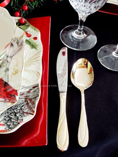 Alycia Nichols, Tablescapes at Table Twenty-One, www.tabletwentyone.wordpress.com, Cardinal Christmas: gold tone flatware