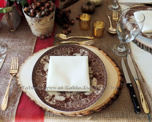 """Alycia Nichols, Tablescapes at Table Twenty-One, www.tabletwentyone.wordpress.com, """"Over the River & Through the Woods – Transitional Tablescape: Single place setting with wood slice charger, brown & ivory transferware dinner plate"""