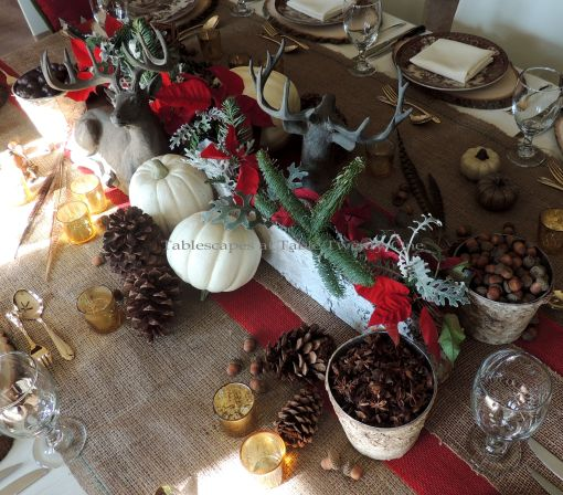 "Alycia Nichols, Tablescapes at Table Twenty-One, www.tabletwentyone.wordpress.com, ""Over the River & Through the Woods – Transitional Tablescape: Whole centerpiece using birch bark-covered vases, resin reindeer, pumpkins, acorns, pine cones, whole spices, florals"