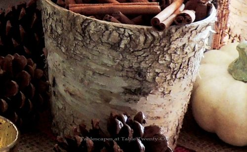 """Alycia Nichols, Tablescapes at Table Twenty-One, www.tabletwentyone.wordpress.com, """"Over the River & Through the Woods – Transitional Tablescape: birch bark-wrapped cylinder"""