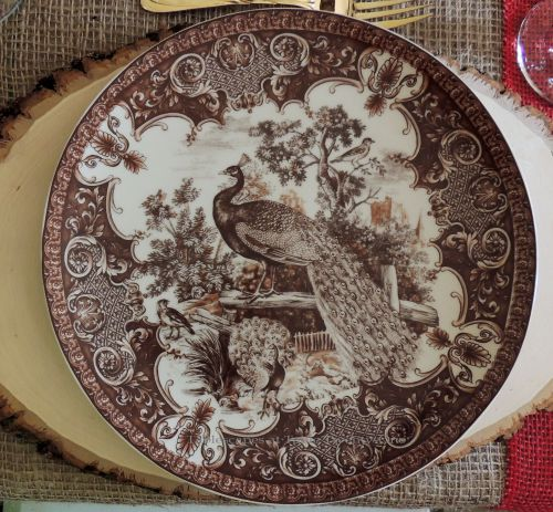 """Alycia Nichols, Tablescapes at Table Twenty-One, www.tabletwentyone.wordpress.com, """"Over the River & Through the Woods – Transitional Tablescape: Brown & ivory transferware dinner plate depicting woodsy/barnyard theme with peacock, pheasant and other game birds"""