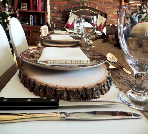 """Alycia Nichols, Tablescapes at Table Twenty-One, www.tabletwentyone.wordpress.com, """"Over the River & Through the Woods – Transitional Tablescape: Multiple place settings with wood slice chargers"""