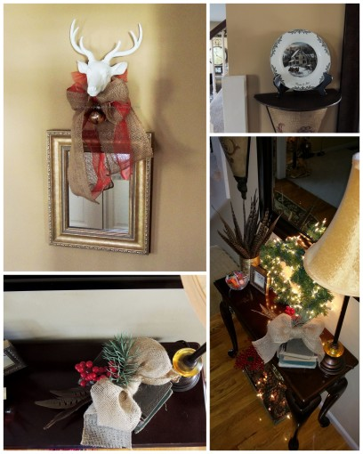 "Alycia Nichols, Tablescapes at Table Twenty-One, www.tabletwentyone.wordpress.com, ""Timberland Christmas – 2014 Christmas Décor: Foyer decor - reindeer over mirror, foyer table, Currier & Ives plate on sconce collage"