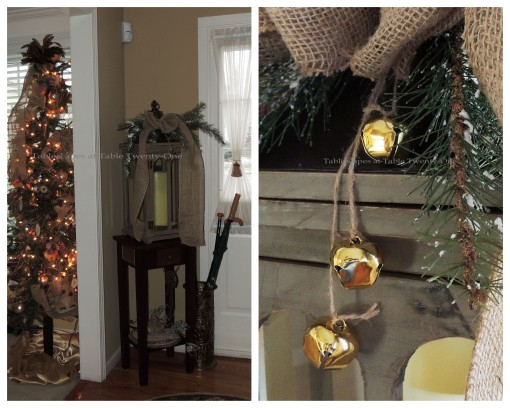 "Alycia Nichols, Tablescapes at Table Twenty-One, www.tabletwentyone.wordpress.com, ""Timberland Christmas – 2014 Christmas Décor: Hallway lantern with jute-tied jingle bells collage"