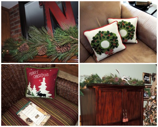"Alycia Nichols, Tablescapes at Table Twenty-One, www.tabletwentyone.wordpress.com, ""Timberland Christmas – 2014 Christmas Décor: Mantel and armoire decor, Christmas pillows on sofa and chair collage"