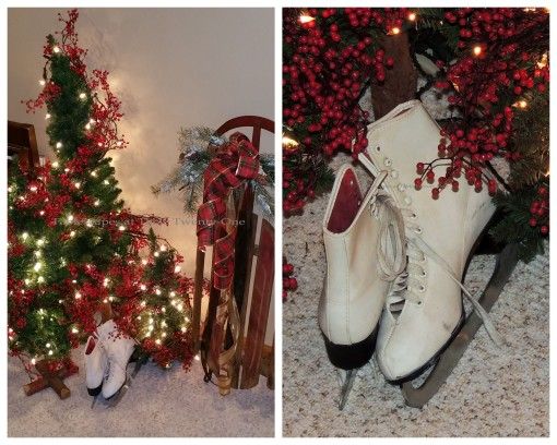 """Alycia Nichols, Tablescapes at Table Twenty-One, www.tabletwentyone.wordpress.com, """"Timberland Christmas – 2014 Christmas Décor: Miniature trees, ice skates, embellished sled collage"""