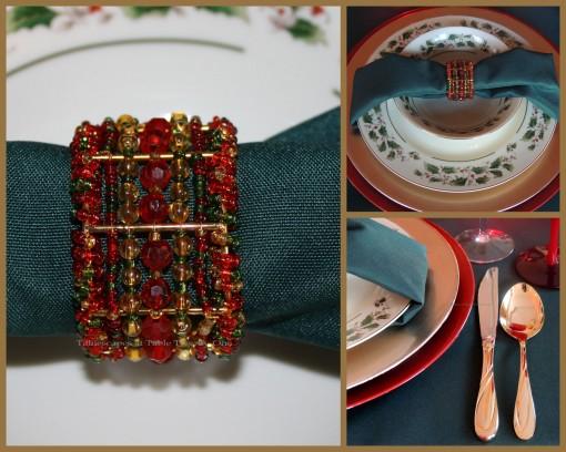 "Alycia Nichols, Tablescapes at Table Twenty-One, www.tabletwentyone.wordpress.com, ""Old-Fashioned Red & Green Christmas"":  Napkin fold, napkin ring, flatware collage"