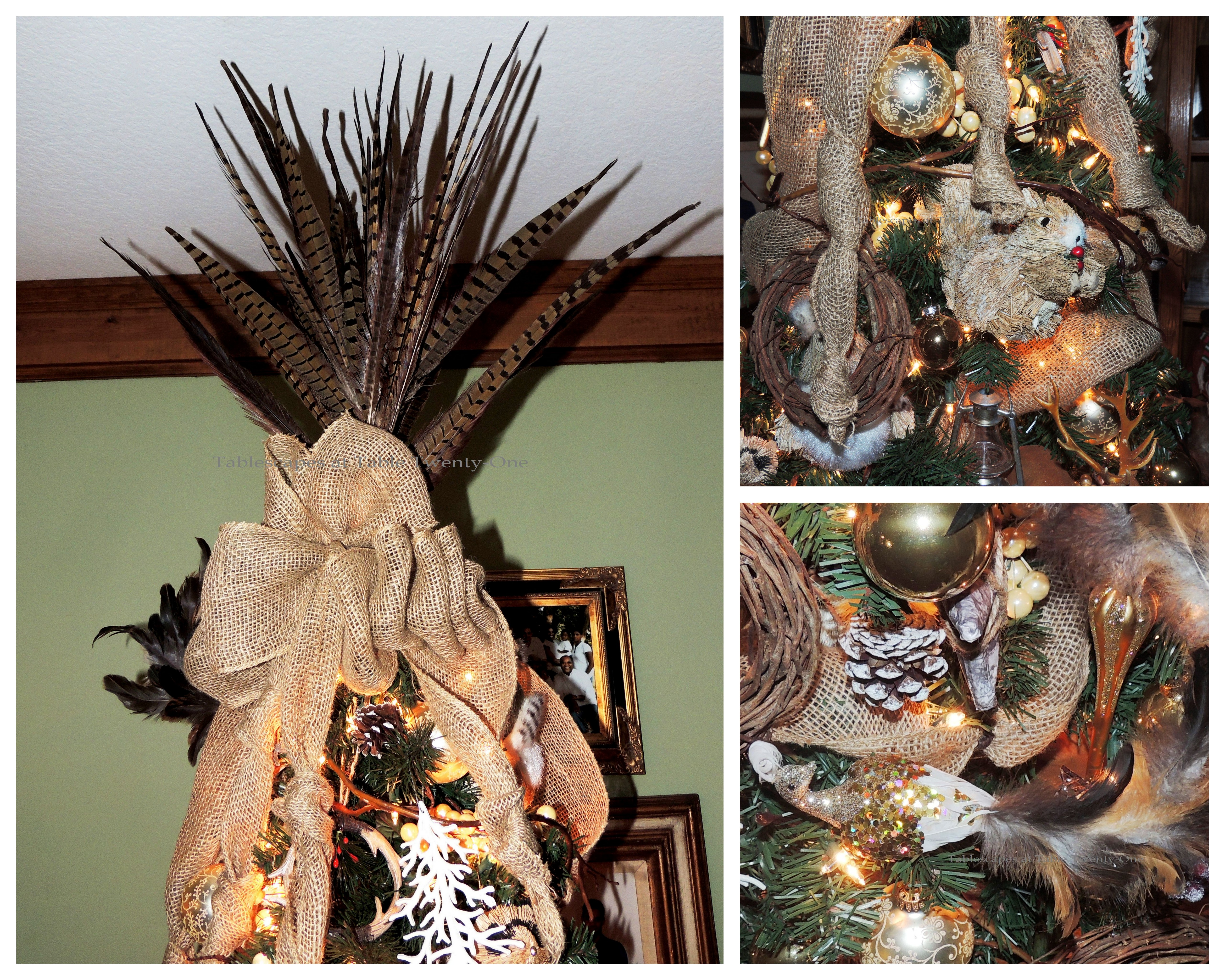 Pheasant Feather Tree Topper With