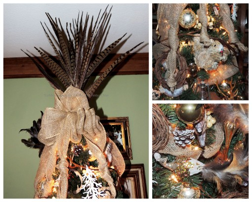 "Alycia Nichols, Tablescapes at Table Twenty-One, www.tabletwentyone.wordpress.com, ""Timberland Christmas – 2014 Christmas Décor: Pheasant feather tree topper with burlap bow tied in love knots, sequinned peacock collage"