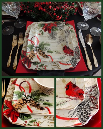 "Alycia Nichols, Tablescapes at Table Twenty-One, www.tabletwentyone.wordpress.com, Cardinal Christmas: 222 Fifth ""Holiday Wishes"" plate collage"