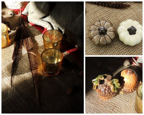 """Alycia Nichols, Tablescapes at Table Twenty-One, www.tabletwentyone.wordpress.com, """"Over the River & Through the Woods – Transitional Tablescape: Pumpkin and acorn salt & pepper shakers, gold mercury glass votives with pheasant feathers collage"""