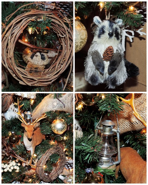 "Alycia Nichols, Tablescapes at Table Twenty-One, www.tabletwentyone.wordpress.com, ""Timberland Christmas – 2014 Christmas Décor: Raccoon, lantern and deer ornament collage"