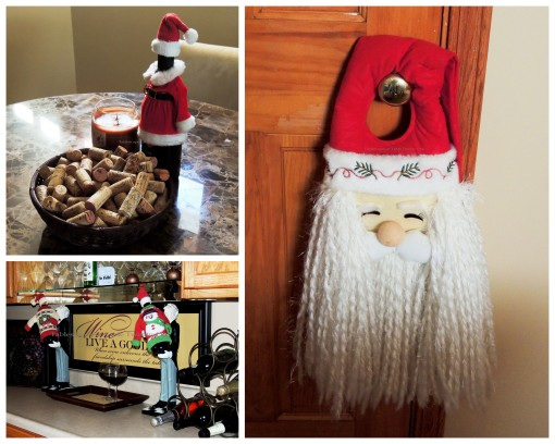 "Alycia Nichols, Tablescapes at Table Twenty-One, www.tabletwentyone.wordpress.com, ""Timberland Christmas – 2014 Christmas Décor: Santa plush door hanger, ugly Christmas sweaters, Mrs. Santa wine cover with corks collage"