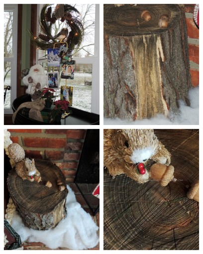"Alycia Nichols, Tablescapes at Table Twenty-One, www.tabletwentyone.wordpress.com, ""Timberland Christmas – 2014 Christmas Décor: Squirrel on old tree stump with acorns & snow, old-fashioned Santa with burlap-tied books collage"
