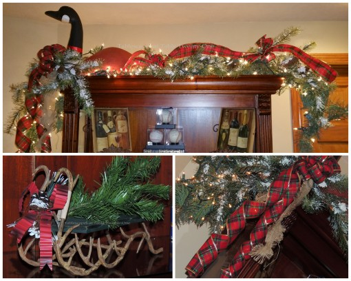 "Alycia Nichols, Tablescapes at Table Twenty-One, www.tabletwentyone.wordpress.com, ""Timberland Christmas – 2014 Christmas Décor: Winter goose atop bookshelf with tartan ribbon, miniature sled with antler under-carriage collage"