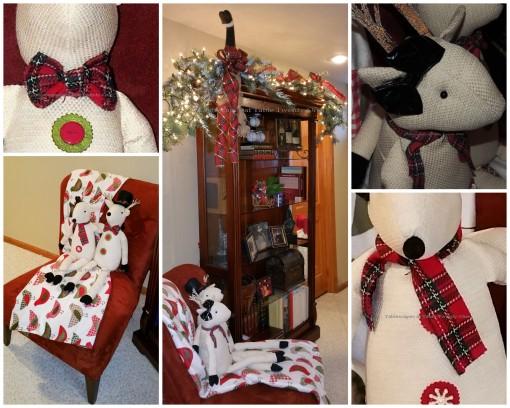 "Alycia Nichols, Tablescapes at Table Twenty-One, www.tabletwentyone.wordpress.com, ""Timberland Christmas – 2014 Christmas Décor: Winter goose on bookshelf, stuffed reindeer on chair collage"