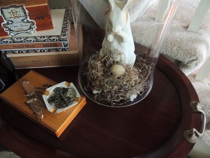 Wooden bunny under glass cloche with Spanish moss nest. www.tabletwentyone.wordpress.com