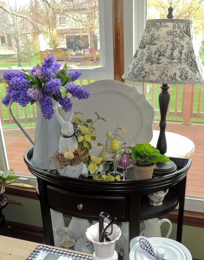 Side table dressed for Easter in breakfast nook. www.tabletwentyone.wordpress.com