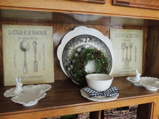 Desk area shelf dressed for Spring. www.tabletwentyone.wordpress.com