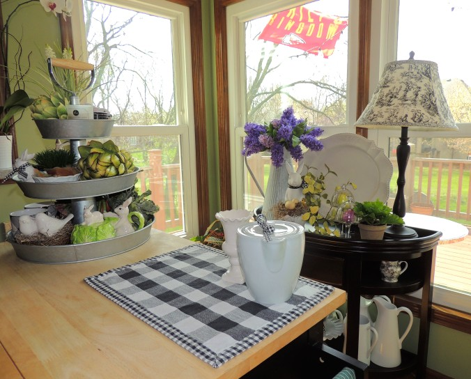 Breakfast nook dressed for Easter. www.tabletwentyone.wordpress.com