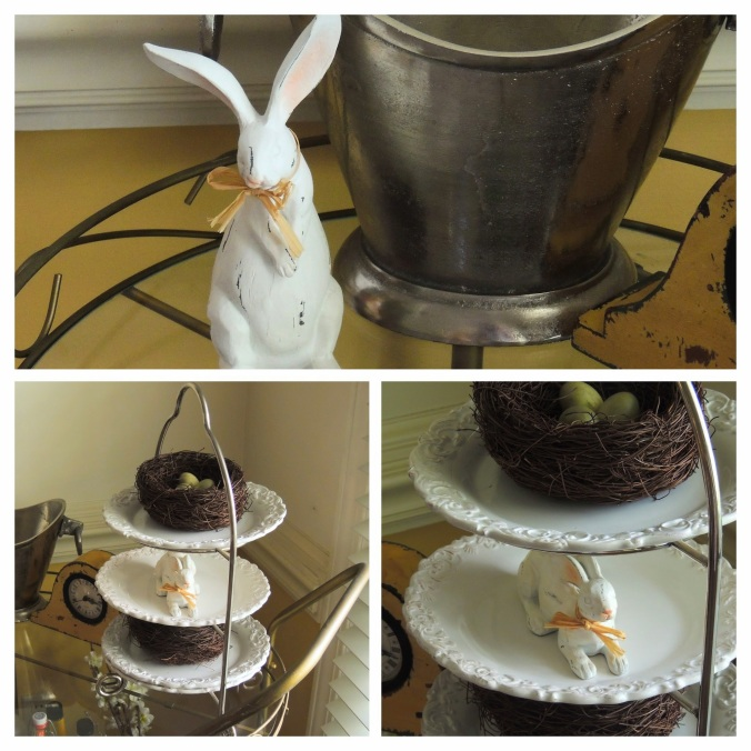 "www.tabletwentyone.wordpress.com, ""Spring Into Easter"" tablescape - Tea Cart Collage"